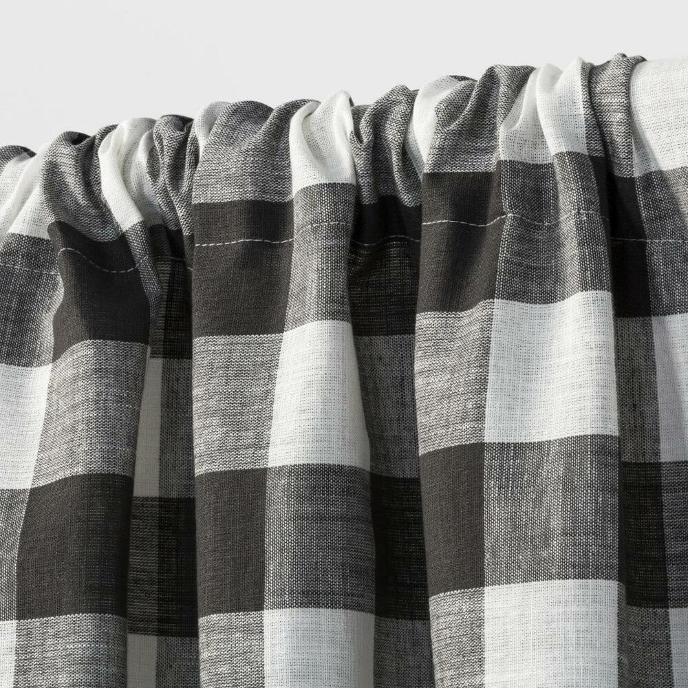 Grey And White Gingham Curtains Target Rod Pocket Cafe Tier Curtain Pair Charcoal Gray Ivory Gingham 42