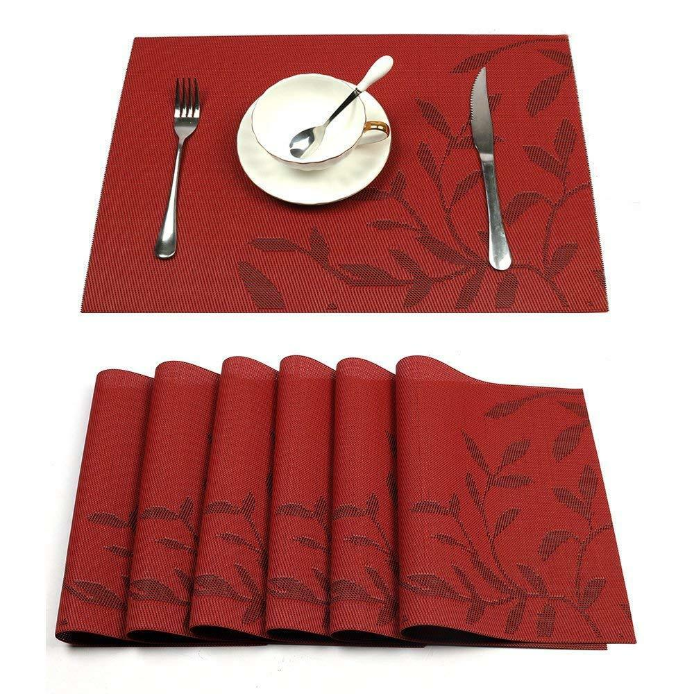 Pvc Placemats 6 Sets Red Placemats Heat Resistant Pvc Placemat For Dining Table Washable Mats 9902428848787 Ebay