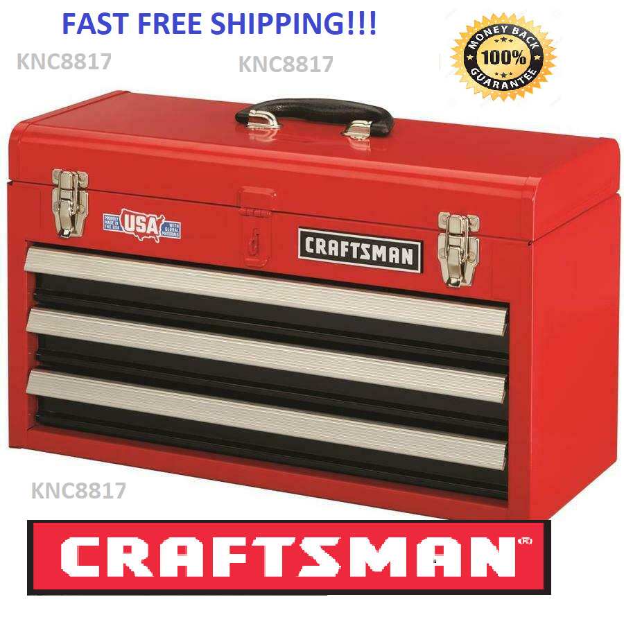 Shop Tool Boxes Craftsman 3 Drawer Mechanic Shop Tool Box Storage Chest Red Durable Steel Best Ebay