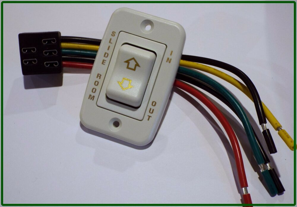 RV SLIDE ROOM SWITCH IN / OUT WITH WIRE HARNESS, 5 PRONGS MOMENTARY
