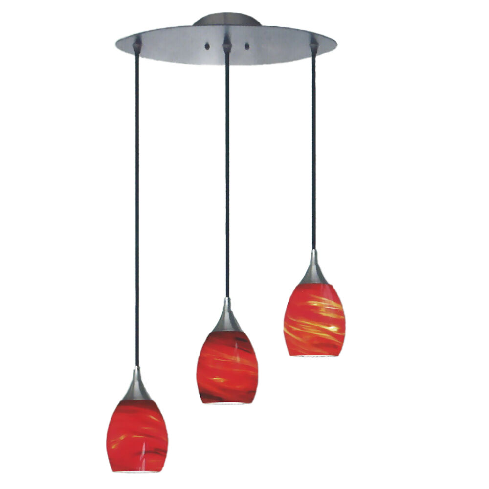 BRUSHED NICKEL AND AMARETTO RED 3 LIGHT PENDANT