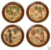 S/4 Wine Themed Decorative Plates, Tuscan, Large-10"