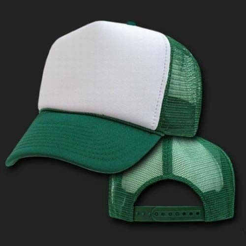 Dummy Classic Trucker Mesh Cap Hat White Front Kelly Green Back