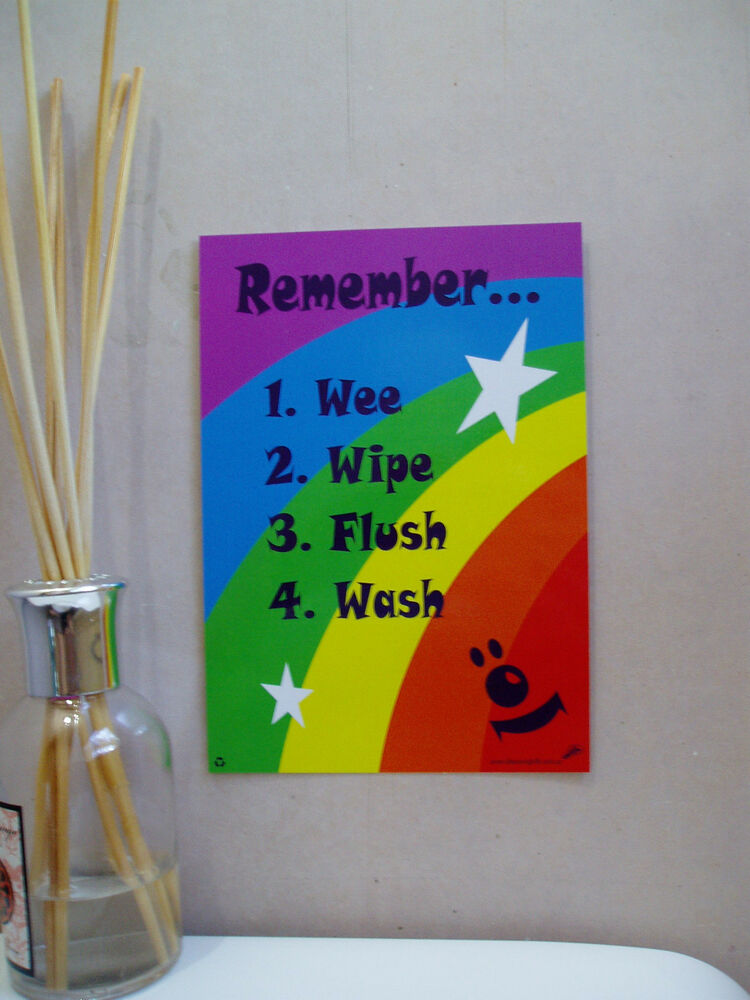 A5 rainbow stars child kids toilet training sign positive