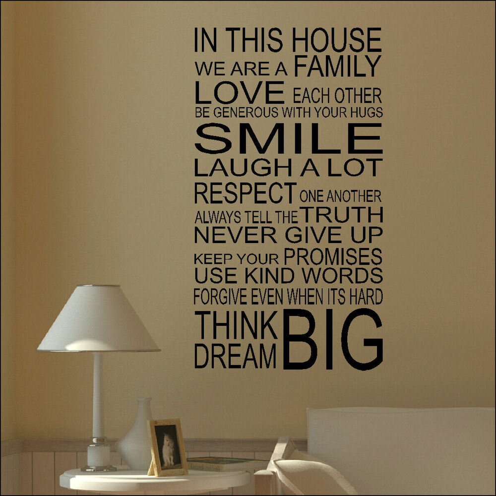 Large quote house rules family love smile art wall sticker