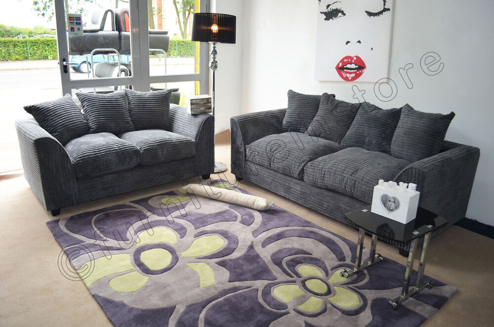 Sofa Cord Jumbo Cord Grey Fabric Sofas 3 + 2 Seater Sofa Dylan