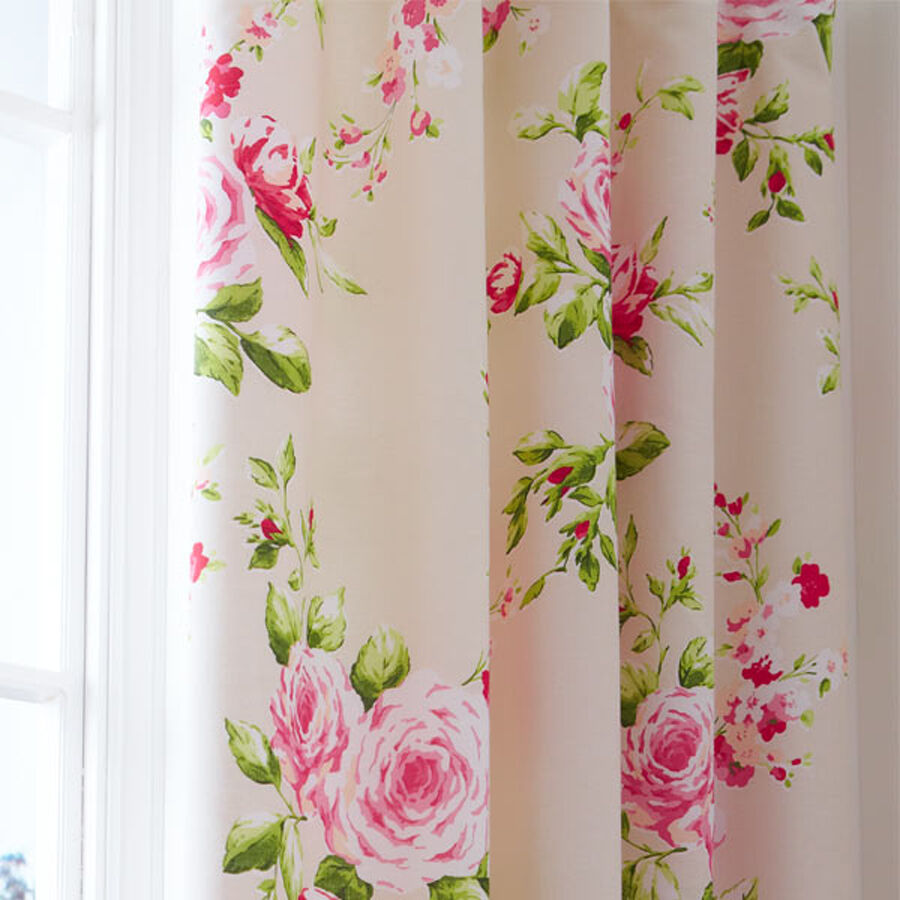 Vorhang Blumen Red Pink Rose Floral Pencil Pleat Lined Cotton Curtains 66