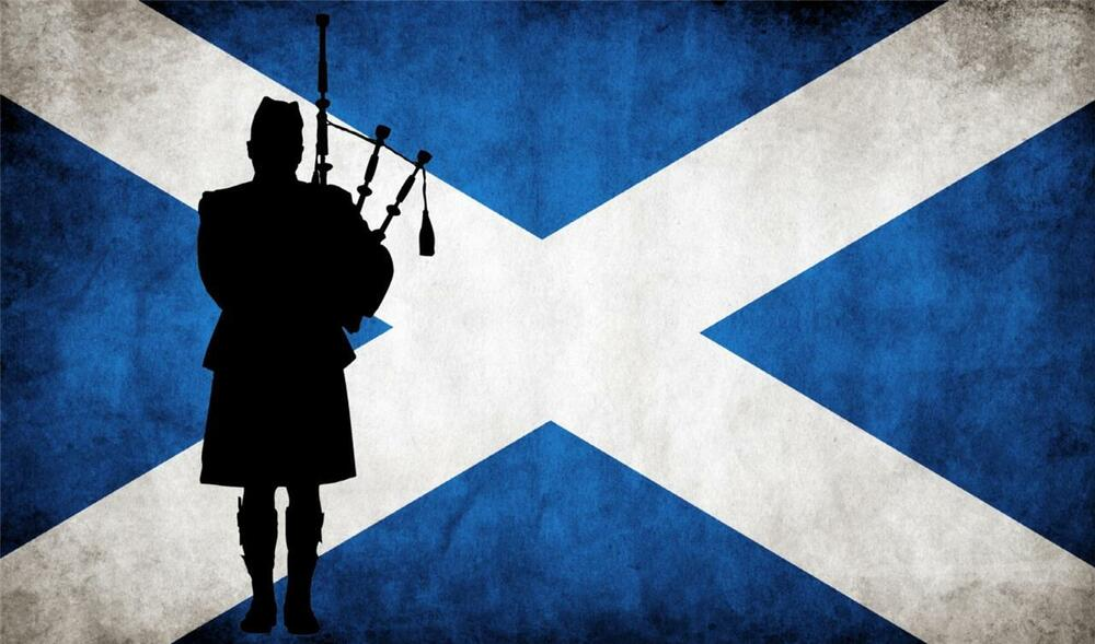 Claymore Wallpaper Hd Scottish Flag With Bagpiper Weathered Look Ebay
