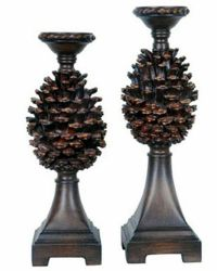 Pine Ridge Pinecone Candleholders Cone Candle Holders ...