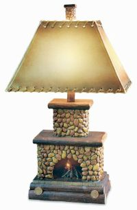 Stone Fireplace Table Lamp Flicker Flame Nightlight Rustic ...