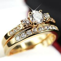 24K GOLD FILLED R223 TRILOGY SIMULATED DIAMOND WEDDING ...