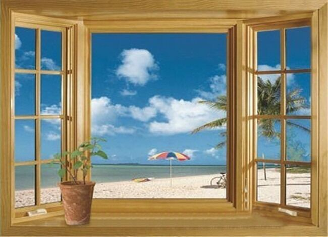 3D Beach Window View Removable Wall Stickers Vinyl Decal