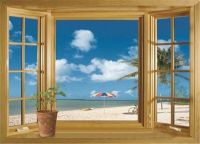 3D Beach Window View Removable Wall Stickers Vinyl Decal ...