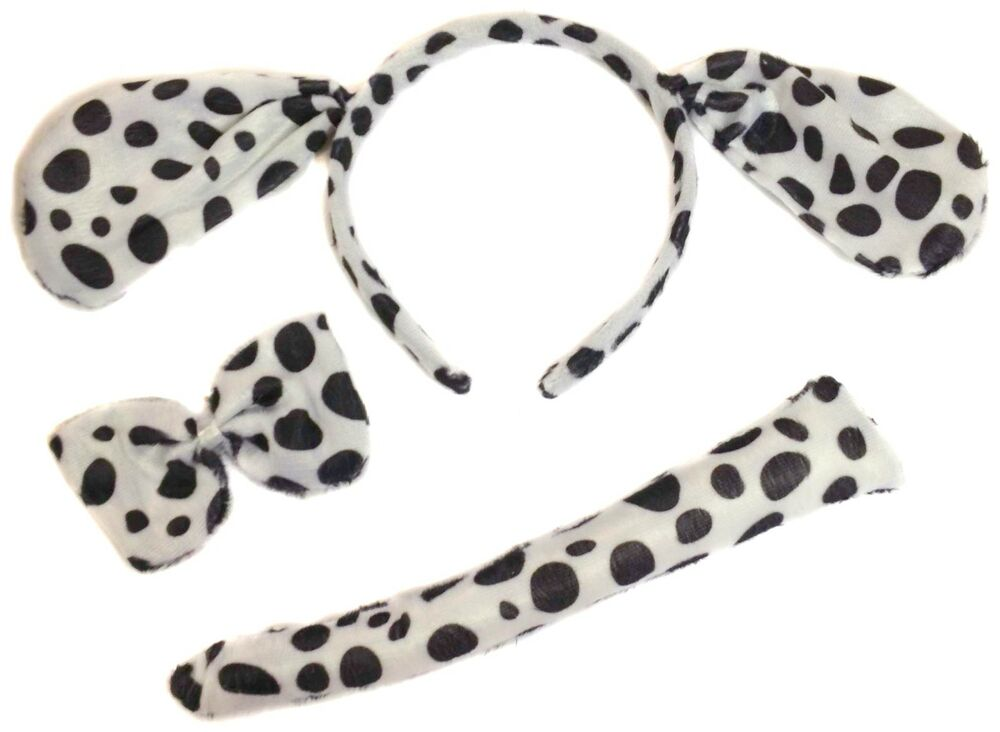 Dalmation Dalmatian Ears Tail And Bow Tie Set Fancy Dress