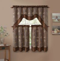 3 Piece Chocolate Brown Leaf Embroidered Kitchen Window