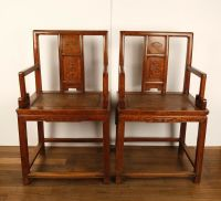 FINE PAIR CHINESE QING DYNASTY ANTIQUE CHINESE CARVED OAK