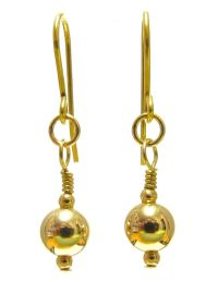 9ct Gold Drop Earrings with Sparkling 7 mm Gold Ball Beads ...