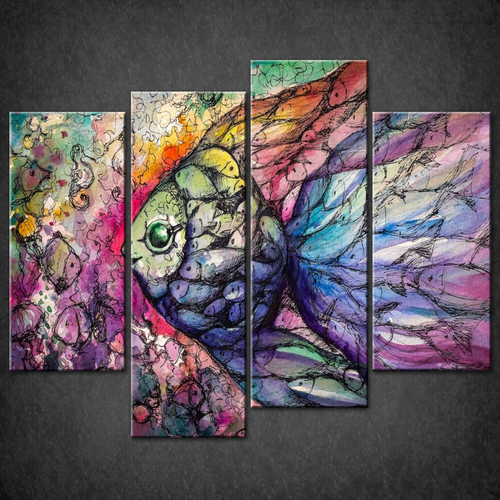 COLOURFUL FISH COLLAGE CASCADE CANVAS PRINT WALL ART