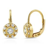 BERRICLE Gold Flashed Sterling Silver CZ Halo Leverback ...