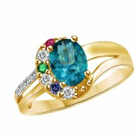 Mothers Bliss Family Stone Ring 10K Yellow Gold Over ...