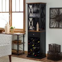 Bar Cabinet Rustic Wine Rack Tall Kitchen Furniture ...