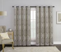 Taupe Single Jacquard Grommet Window Curtain Panel: Floral ...