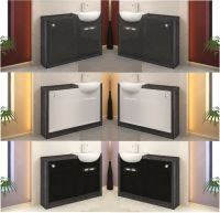 BATHROOM FURNITURE VANITY CABINET STORAGE UNIT GREY ...
