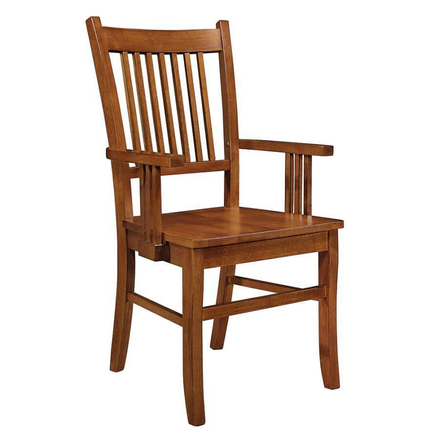 Medium Brown Oak Finish Mission Dining Arm Chair By