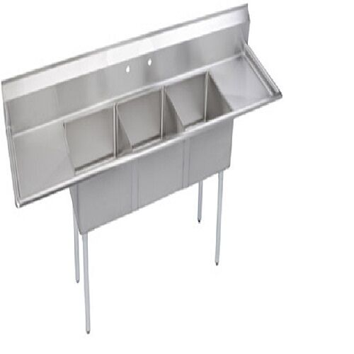 Stainless Steel 102quot X 30quot 3 Three Compartment Sink W 2