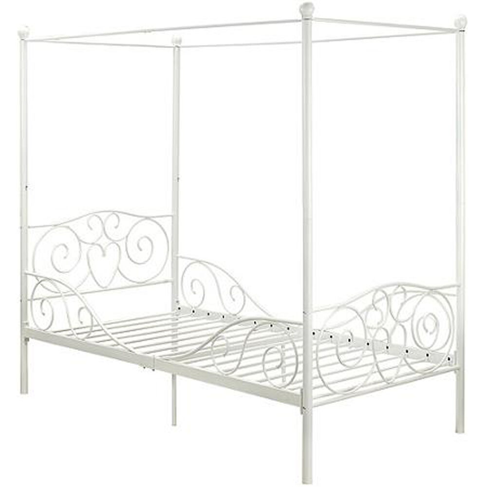 Princess Bed Frame Twin Canopy Furniture White Metal Girls
