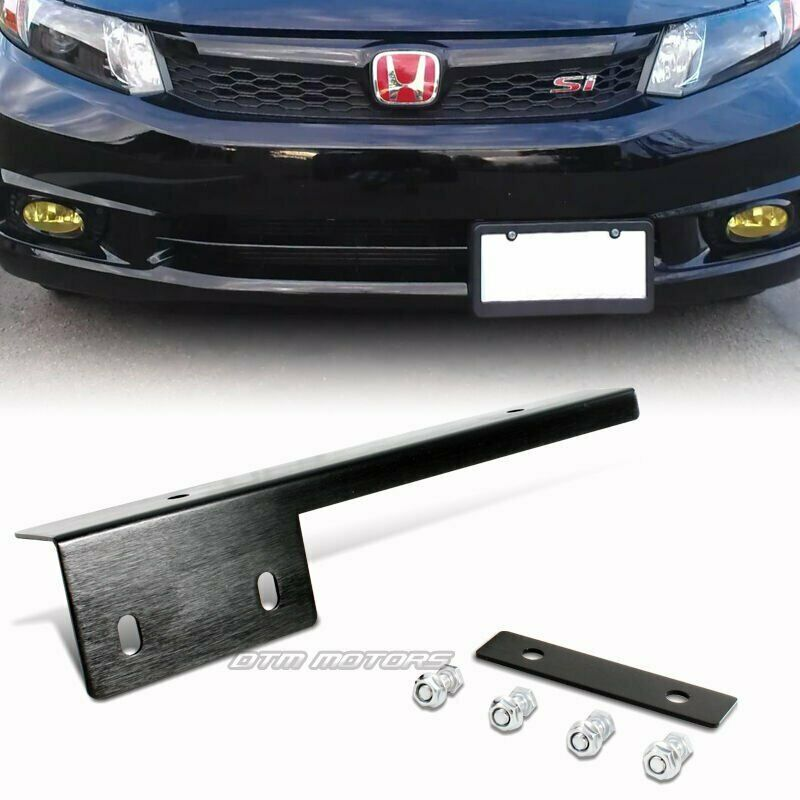 Black Brushed Aluminum Front License Plate Relocate