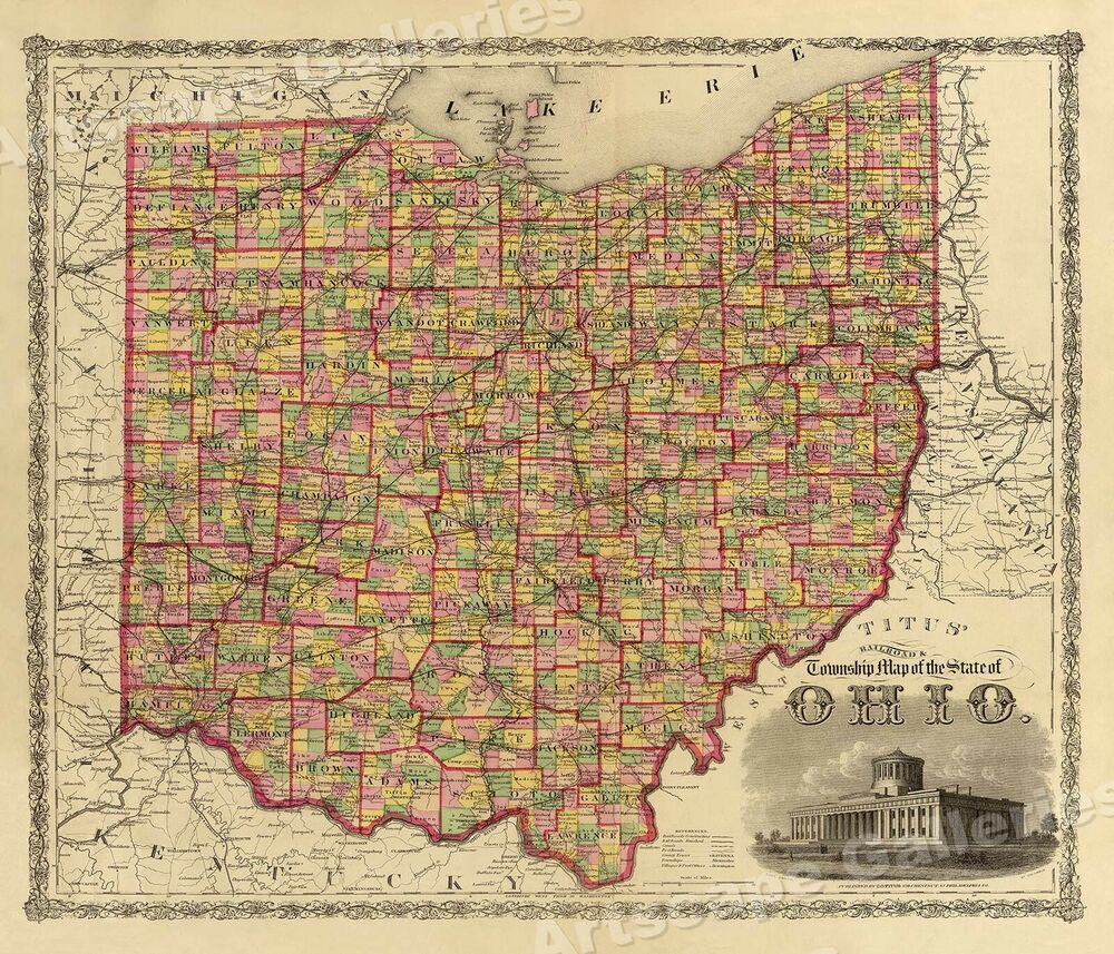 1000 Images About 1860s On Pinterest Auto Electrical Wiring Diagram Painless 50102 U201ctownship Map Of The State Ohio U201d Vintage Style Us