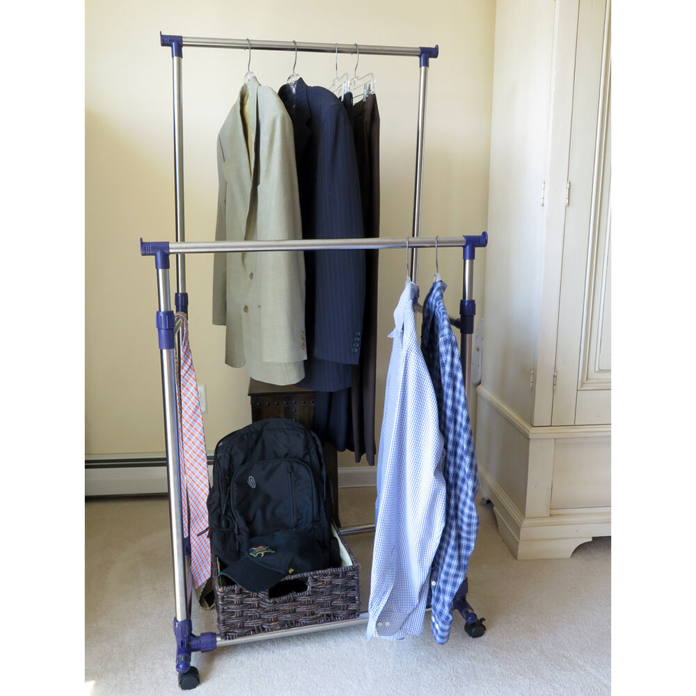 Clothes Storage Systems Evelots® Heavy Duty Clothes Rack, Portable Double Clothes