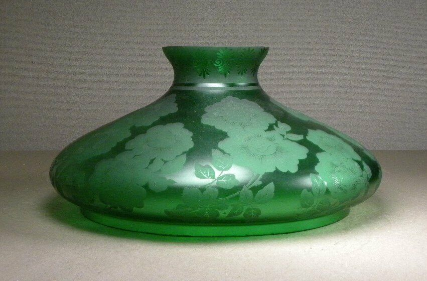 ANTIQUE LARGE VICTORIAN ACID ETCHED FLORAL GREEN GLASS