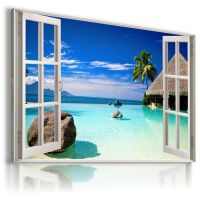 3D BEACH Window View Canvas Wall Art Picture Large SIZES