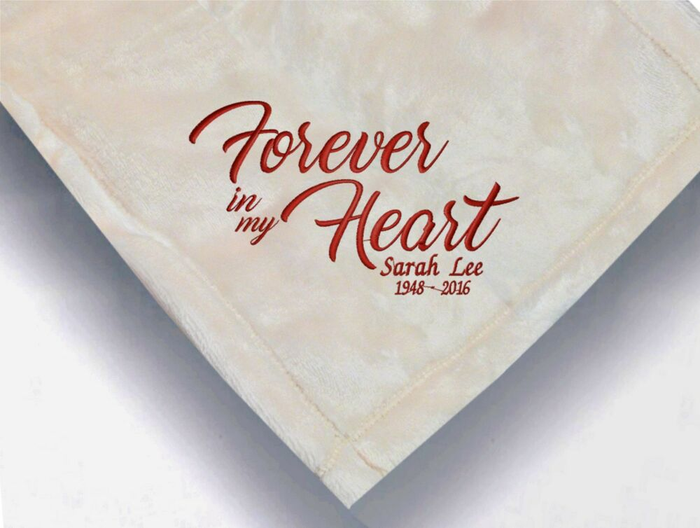 personalized monogrammed throw blanket w embroidery forever in my heart blanket