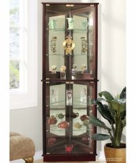 Lighted Curio Cabinet Storage Tall Corner 5 Shelves ...