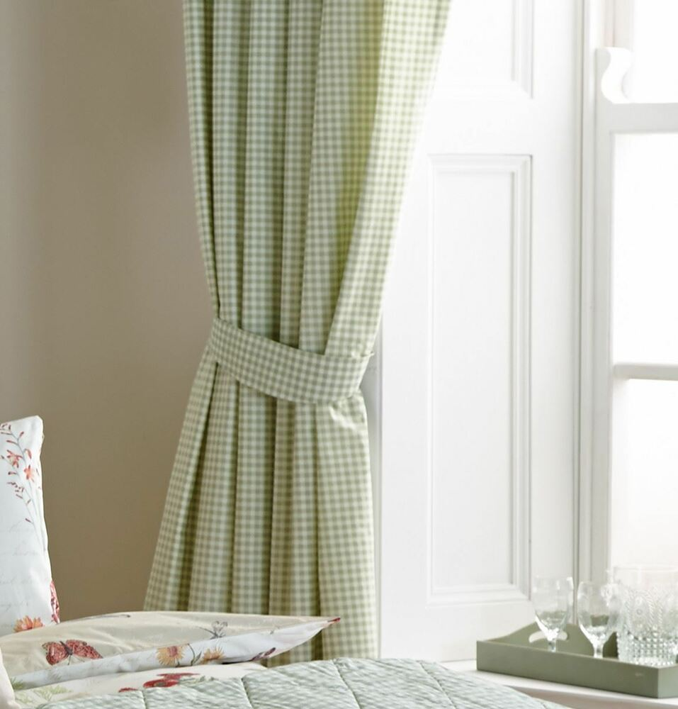 Grey And White Gingham Curtains Gingham Check Green White Lined 66