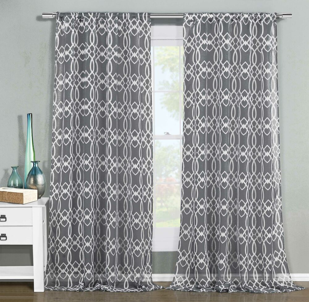102 Inch Curtains Set Of 2 Sheer Window Curtain Panels Gray White Geometric Design 102