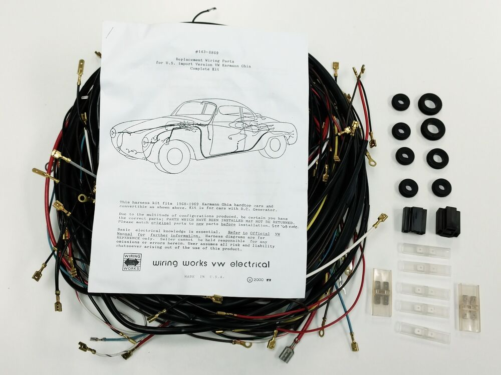1968-1969 ALL Karmann Ghia VW COMPLETE Wiring Works Wire Harness Kit - USA  MADE eBay