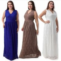 Womens Plus Size V Neck Full Lace Evening Cocktail Gala ...