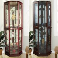 Lighted Curio Cabinet Storage Tall Mirrored Display Case 5 ...