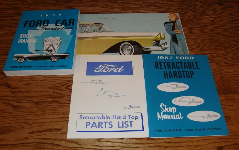 1957 Ford Car Shop Service Manual Owners Sales Brochure 12 Piece Lot