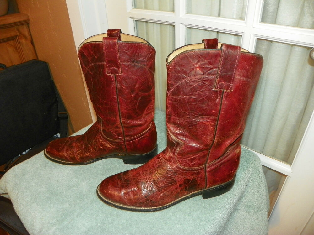 Justin Diamond J Cowboy Roper Western Boots Rust Leather