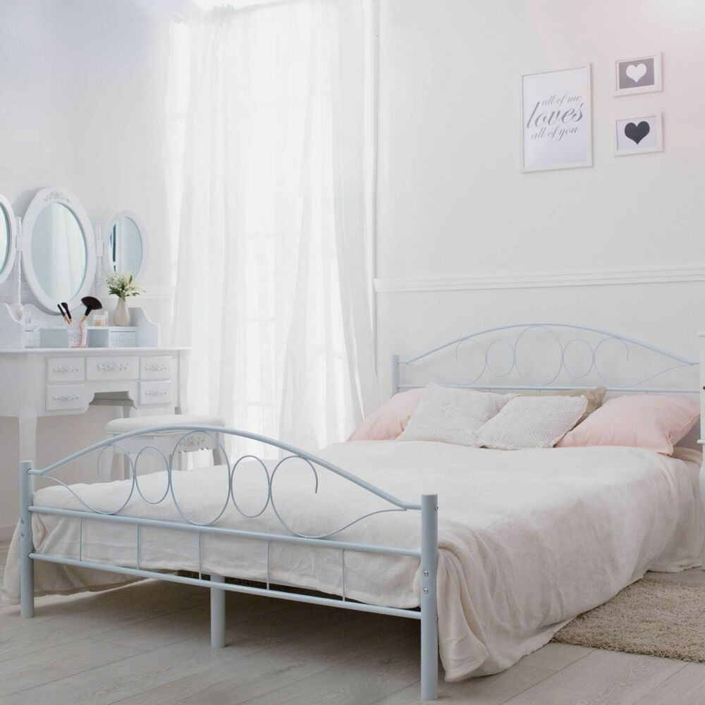 180cm Bed White Super King Size Metal Bed Frame 180cm 6 Foot Ebay
