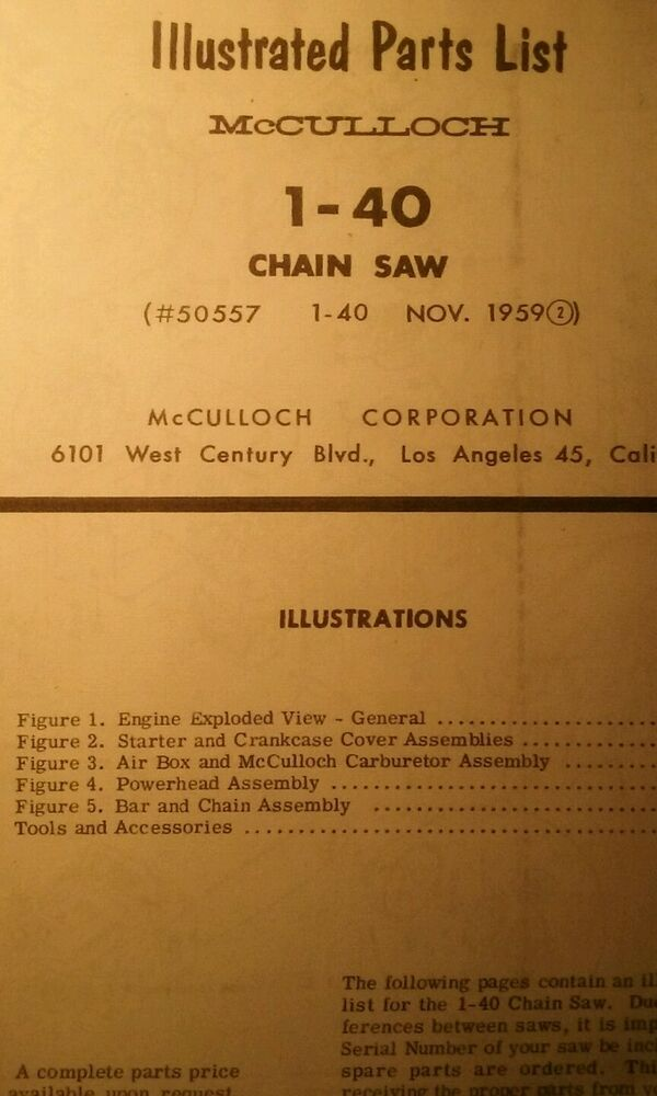 McCulloch 1-40 Chain Saw Parts Manual 14pg Chainsaw 1959 Gas Engine