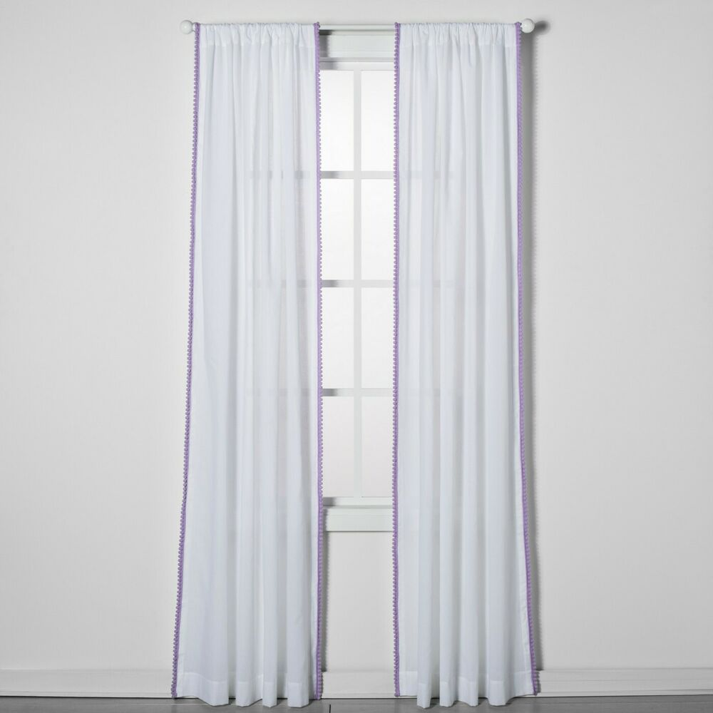 Lavender Sheer Curtains Lot Of 2 Pillowfort White Lavender Pom Sheer Curtain Window Panels New Ebay