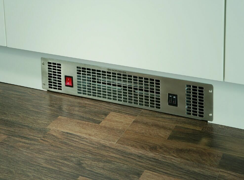 Kitchen Plinth Fan Heater 2kw Hot Cold 500mm Stainless