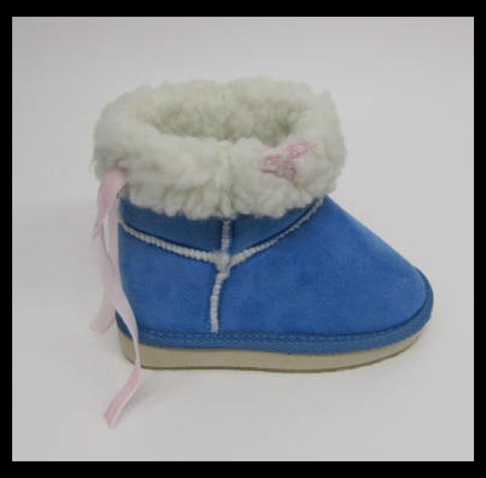 Girls Toddler Blue Boots Butterfly Detail Sizes 6 7 8 9