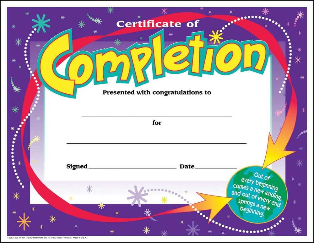 certificate for completion
